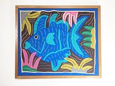Vintage Colorful Framed Fish Textile Hand Stitched Embroidery