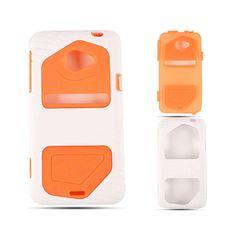 Cell Armor Hybrid Fit Jelly Case for HTC Evo LTE - Orange Skin with White Jelly Case, Evo, Orange