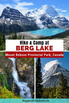 Hike the Berg Lake Trail in Mount Robson Provincial Park for incredible views of the Canadian Rocky Mountains. This hike in British Columbia passes gorgeous waterfalls and ends at a glacier lake. Get all the info you need to know to hike and camp at Berg Lake. Berg Lake backpacking trip guide. Where to camp on the Berg Lake Trail. Hiking in Mount Robson Provincial Park. Berg Lake hike. Backpacking Tips, Hiking Tips, Travel Ideas, Travel Inspiration, Places To Travel, Places To Go, Columbia Outdoor, Glacier Lake, Canadian Rockies