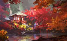 Dive into The Art of Ling Xiang, a Chinese Concept Artist based in Shanghai, working for the Game Industry. Fantasy Art Landscapes, Fantasy Landscape, Landscape Art, Jasmin Tattoo, Japan Landscape, Anime Scenery Wallpaper, Environment Concept Art, Japan Art, Environmental Art