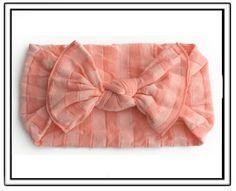 Baby Bling Coral & Peach Stripe Knot Headband-baby bling headband,baby toddler little girl headbands,pantyhose material headband,Scottsdale