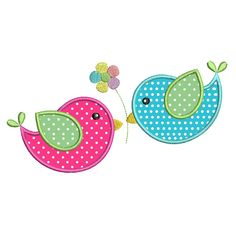 Very sweet two little birds applique machine embroidery design. These little birds are so cute. Supplied in 3 sizes - hoops. Many popular formats provided. Step by step applique instructions are included. Baby Embroidery, Applique Embroidery Designs, Machine Embroidery Applique, Japanese Embroidery, Embroidery Stitches, Embroidery Jewelry, Applique Designs Free, Flower Applique Patterns, Embroidery Books