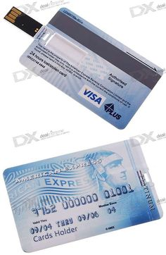 "TECH -        Credit Card USB Flash Drives - ""Keep it in your wallet, and you'll always have one when you need it!"""