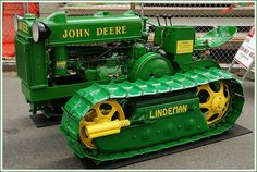 John Deere Lindeman Tractor - My dad had one of these with a 'dozer' blade. I managed to get it stuck two or three times in mud. Old John Deere Tractors, Jd Tractors, Small Tractors, John Deere Equipment, Old Farm Equipment, Heavy Equipment, Antique Tractors, Vintage Tractors, Vintage Farm