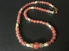 Be a Goddess in this Beautiful Necklace of sparkle, Natural Pearls, Pink Tourmaline styled in the in the luxurious Regency Style of the 1940's. 22 inches of soothing love energy imparted to the wearer as follows:    *Attract love and resolve issues in relationships    *Joy and Divine Love    *Lessen depression and mend emotional wounds     *Meditation with Pink Tourmaline release of unhealthy patterns of behavior,     *Positive thinking leading to a more complete life.     *Archangel Jophiel…