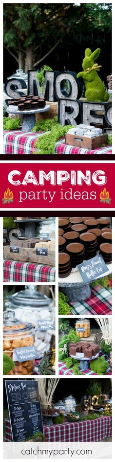 Check out this great Camping inspired S'mores bar. The rustic decorations are gorgeous! See more party ideas and share your at CatchMyParty.com