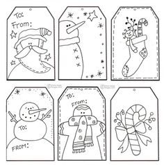 Free Color Your Own Christmas Tag Printable- for when the kids wrap their parent gifts? ... or just for me