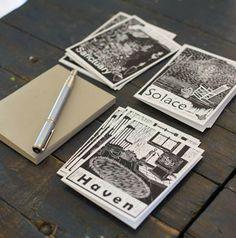 Retreat Woodcut Series Notecards set of 12 ($15)
