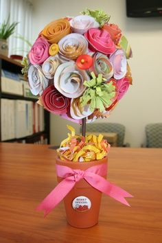 Paper flower topiary its like a beautiful but everlasting paper flower topiary its like a beautiful but everlasting bouquet craft ideas pinterest topiary flower and craft mightylinksfo