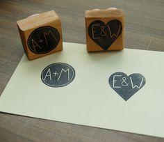 Custom Couple's Initial Stamp - 1.5 inch Square. $15.00, via Etsy. for programs?