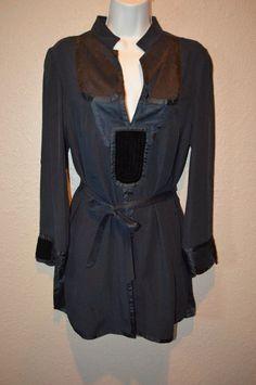 Sz 44 8/10 M Etro Black Silk Long Sleeve V-Front Tie Waist Tunic Long Blouse #Etro #Tunic #Casual