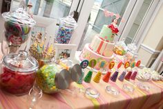 "Love the style of this ""sweets"" table. #party #treats"