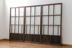 アンティーク 古い木のアンティークモールガラス戸 3枚セット(建具、引き戸)