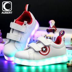 キャプテンアメリカ子供のledライト靴漫画発光キッズスニーカー通気性男の子女の子光る靴でusb充電