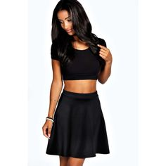 Boohoo Petite Roseanna Colour Pop Skater Skirt ($14) ❤ liked on Polyvore featuring skirts, midi circle skirt, petite skirts, black midi skirt, midi skater skirt and pleated skirt