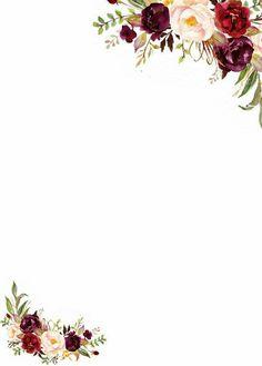 Flores marsala para convite is part of Invitations - Wedding Invitation Background, Wedding Invitation Templates, Wedding Invitations, Floral Invitation, Flower Background Wallpaper, Flower Backgrounds, Wallpaper Backgrounds, Floral Border, Flower Frame