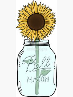 Sunflower by katielavigna Sunflower Stencil, Sunflower Design, Cali, Sunflower Clipart, Sunflower Quotes, Sketch Painting, Diy Stickers, Planner, Wall Art Quotes