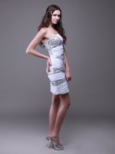 Strapless Chiffon and Silver Sequin Bodycon Cocktail Dress (bridesmaid idea) 4c77a921bc77