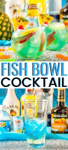 This Fish Bowl Drink is a fruity party cocktail thats served in a fishbowl and made with 4 different kinds of alcohol! Youll find a delicious blend of coconut rum vodka peach schnapps and blue curaçao. Fruity Mixed Drinks, Fruity Alcohol Drinks, Alcohol Drink Recipes, Fun Summer Drinks Alcohol, Coconut Drinks Alcohol, Mix Drinks With Vodka, Good Mixed Drinks, Mixed Drink Recipes, Fruity Shots