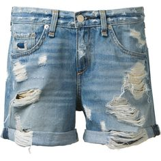 Rag & Bone Rag and Bone blue denim short ($130) ❤ liked on Polyvore featuring shorts, bottoms, zipper shorts, short jean shorts, jean shorts, blue jean shorts and blue denim shorts