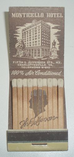 Neat Jefferson silhouette on matches | Monticello Hotel | Charlottesville, VA