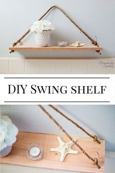 DIY Swing Shelf Tutorial a simple build project that takes 20 minutes from start to finish with cute nautical rope details