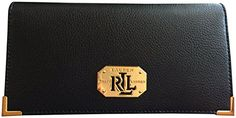Lauren Ralph Lauren Acadia Lea Genuine Leather Checkbook Slim Wallet Black