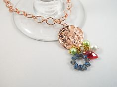 Necklace, Copper Sand Dollar Pendant with Faux Pearl & Glass Crystal Charms on a Copper Mother and Son Chain. Makes a great accessory for a beach wedding! See my other jewelry pieces at www.TouchedbyGod.etsy.com!