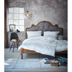 Bett, Knopfheftung, Romantik-Look, Mango massiv, Leinenbzug Katalogbild