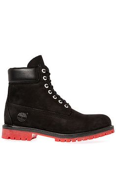 The Timberland Icon Premium Boot in Black Nubuck   Red by Timberland use  rep code  OLIVE for off! f13bb36b4e93