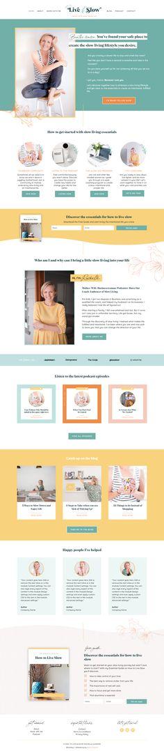 salma sheriff - branding logo design and wordpress website design for how to live slow Website Design Layout, Wordpress Website Design, Blog Layout, Blue Website, Brand Identity Design, Logo Design, Design Web, Beautiful Website Design, Coach Website