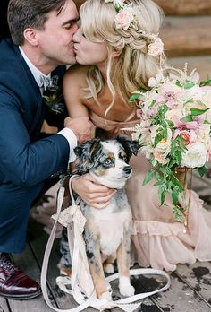 Brides.com: . Not all pets will handle wearing a wedding outfit with grace. This couple dressed up their dog with a simple leash adorned with a lace bow.