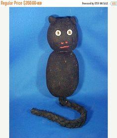 SALE Antique Black Sock Cat Kitty Primitive by AmericanaAntiques