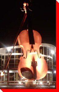 World's Largest Illuminated Fiddle - Sydney, Nova Scotia (nighttime) -- this is spectacular to see Sydney Ns, Cap Breton, I Am Canadian, Atlantic Canada, Roadside Attractions, Prince Edward Island, New Brunswick, World's Biggest, Land Art