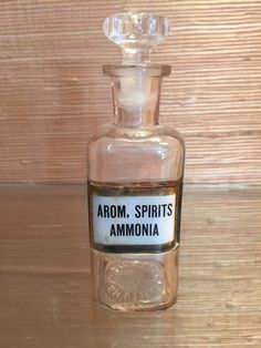 "Small Antique Apothecary Bottle or Jar w/ Label Under Glass 5 1/2"" (Ammonia)"