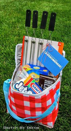 easy end-of-year teacher appreciation gift. Give them a s'mores package to enjoy during the summer months.An easy end-of-year teacher appreciation gift. Give them a s'mores package to enjoy during the summer months. Raffle Baskets, Diy Gift Baskets, Basket Gift, Summer Gift Baskets, Gift Basket For Teacher, Camping Gift Baskets, Summer Gifts, Fundraiser Baskets, Family Gift Baskets