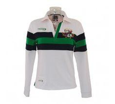 Carrolls Irish Gifts Emerald Green Navy Striped Polo Shirt with Shamrock Crest Design