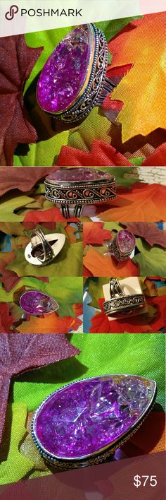 🎉HP🎉 XL Snakeskin Quartz Hand Carved Silver Ring XL Pear Cut Snakeskin Quartz  Lovely Hand Carved antique Design 925 Stamped Sterling Silver Handmade in India 🎁 Gift box included🎁  ⚜Check out the rest of my closet N Save $ on Holiday Gifts  💯 Brand New N High Quality  💯 WHAT U C IS WHAT YOU'LL GET ♡Engaged after 3 yrs Long distance We r Raising $ ourselves 2 pay Visa Fees, plane tickets N wedding Plz Follow/Share to help us reach our goal, Thank u so much  Boho bohemian chic fashion…