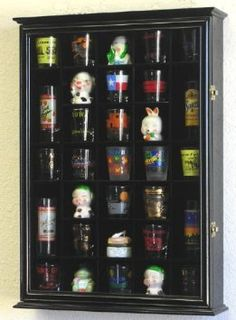 Amazon.com: 31 Shot Glass Shooter Display Case Holder Cabinet Wall Rack -Black: Home & Kitchen