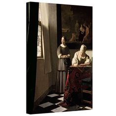 'Lady Writing a Letter with Her Maid' by Johannes Vermeer Gallery-Wrapped on Canvas