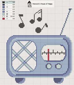0 point de croix grille et couleurs de fils radio ancienne vintage