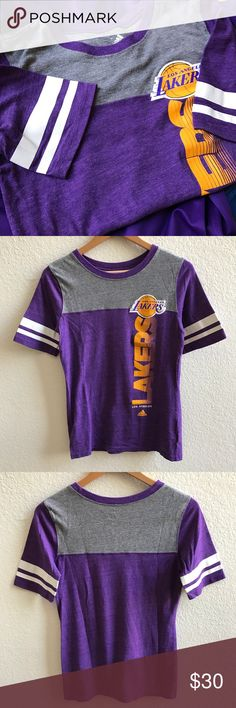 Adidas Los Angeles Lakers Women's Shirt Size M Super cute Adidas Lakers shirt. Has a vintage look to it. I love this t, it's just a tad too small. Worn maybe 3 times total. The screen printing is 100% intact. Adidas Tops Tees - Short Sleeve