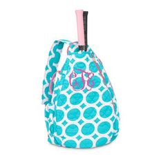 Monogrammed Quilted Tennis Backpack- Turquoise Lots o Dots ($36.95)