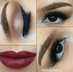 Neutral Look with Red Lips