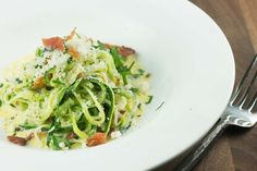 Our recipe combines zucchini noodles with a classic carbonara recipe for an irresistibly low-carb, fiber-filled meal.