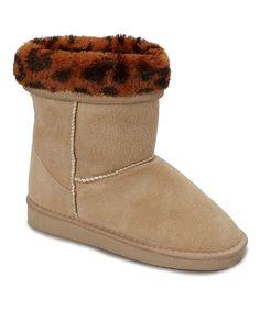 Beige Leopard Bambi Fold-Over Boot
