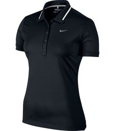 cb75eaf6 You've gotta have one of Nike's Ladies Icon Swoosh Tech Golf Shirt! It's a  Button Placket polo with Novelty Stripe Detail On Collar!