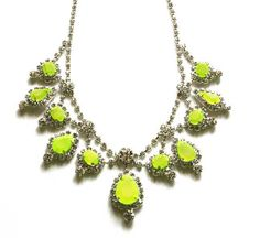 Neon Green Rhinestone Necklace