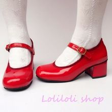 Princess sweet lolita shoes Japanese design customized special shaped red mirror tie chunky heel shoes 9149aa(China)