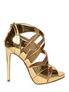 Mirrored golden sandals